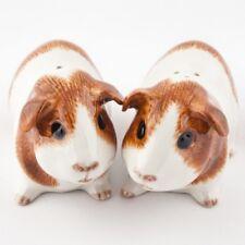 More details for quail ceramics dutch guinea pig salt and pepper shaker pots brown & white
