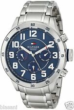 Tommy Hilfiger Original 1791053 Men's Silver Tone Blue Dial Steel Watch 46mm