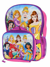 "Disney Princess Backpack 16"" W/ Detachable Insulated Lunch Bag Cinderella Ariel"