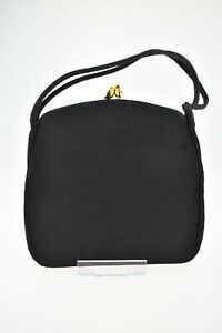 Vintage 1950s Waldybag Black Grosgrain And Satin Evening Clutch Bag With Purse