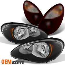 06-10 PT Cruiser Black Headlights + Dark Red Tail Lights Combo Replacement Sets