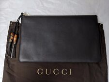 Gucci Brown Leather Pouch Bag with Bamboo&Leather Tassel