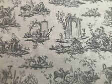 TOILE DE JOUY LINEN CURTAIN/UPHOLSTERY FABRIC - SMOKEY GREY - BY THE METRE