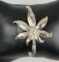 Ladies Vintage Silver Tone Leaf Design Brooch clear Crystal Pin