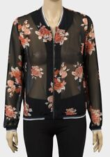 Mujer señoras chaqueta de bombardero Luz De Gasa Manga Larga Floral Negro con Cremallera Acanalado