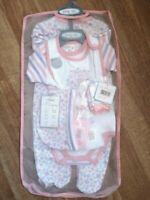 Baby Girl  Layette sleepsuit 7 piece set Pink sister Cutie Pie 0-3months 3-6 m