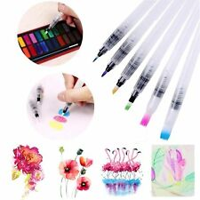 6pcs Refillable Water Colour Brushes Ink Pen Watercolor Calligraphy Drawing Set