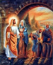 The First Miracle of Jesus Christ At Wedding Religious Wall Decor Art Print 8x10