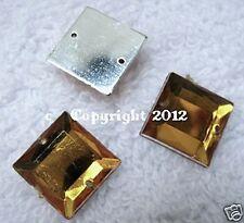 Strasssteine aufnähen Aufnähsteine Quadrat ca.12mm Gold 1A Qualität Karostonebox