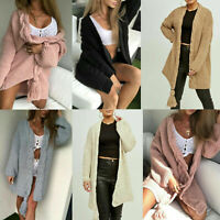 New Ladies Womens Chunky Cable Knitted Pom Pom Fringe Tassel Cardigan Jacket Top