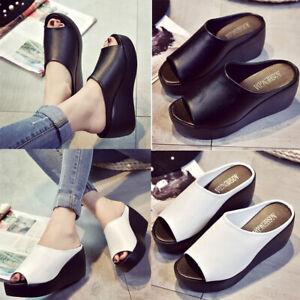 Women Sandals Platform Wedge PU Leather Mules Open Toe Slides Shoes Summer Size