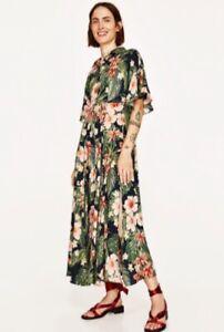 Zara 1975 tropical flower fern maxi shirt dress M- L gorgeous summer