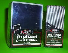 25 TOPLOAD CARD HOLDERS - WHITE BORDER,FOR TRADING CARDS,12M 3 X 4 RIGID PLASTIC