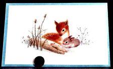 Vintage Christmas Cute Little Baby Fawn Deer & Bunny Rabbit Greeting Card Unused