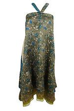 Boho Wrap Around Skirt 2 Layer Silk Sari Vintage Reversible Beach Cover Up Dress