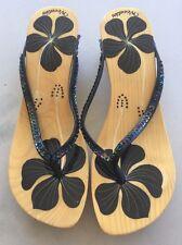 New Woodies Handpainted Wooden Sandal - Black Flowers & Sequins - Size 9