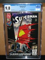 CGC 9.8 SUPERMAN 75 RARE 2ND PRINT VARIANT MAN OF STEEL DEATH batman 1st rebirth