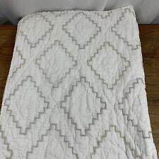 Jenni Kayne Pottery Barn Kids Toddler Bed Quilt Linen/Cotton Blend 36x50 White
