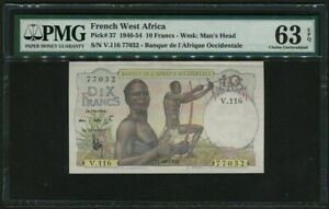 French West Africa 1946-1954 ( 1953 ), 10 Francs, P37, PMG 63 EPQ UNC