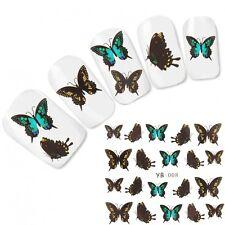 Tattoo Nail Art Aufkleber Schmetterling Türkis Fingernägel Nagel Sticker Neu!