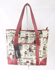 Tapestry Elegant Lady on Beige Slim Handbag or Shoulder Bag Ext Pouch Signare