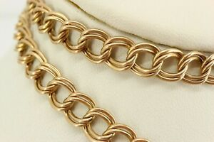 """Italy Italian 9ct Gold Fancy Double Link Necklace Chain 24"""". NICE1"""