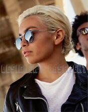 GARRETT LEIGHT navy Leather T50 silver CORDOVA Retro round Sunglasses NWT Authen
