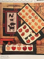 Cats in the Patch Red Wagon Quilting Patterns autumn goat black cat rooster pig