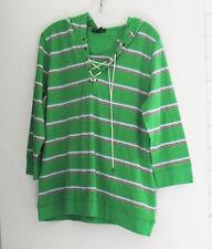 Lauren Jeans Co. Plus Size Striped Lace Up Hoodie Green Multi Sz 1X - NWT