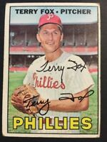 Terry Fox Phillies Signed 1967 Topps Baseball Card #181 Auto Autograph 1