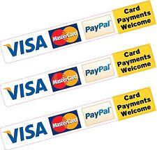 3x paypal visa mastercard carte de crédit de paiement Autocollant Vinyle Imprimé Boutique taxi
