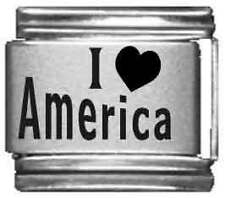 Clearly Charming I Heart America Laser Italian Charm