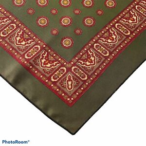 """Authentic Vintage Pocket Square Olive Green Maroon Geometric 17"""" x 17"""""""