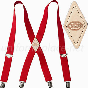 RED Dickies Men's Industrial Strength Ballistic Nylon Clip End Work Suspenders