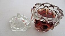 """4"""" GRAPE SCENT Grape Leaf SHAPED Glass Bath & Body Works GEL Candle/CHIPPED Lid"""
