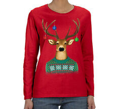 Womens Reindeer Sweater Ornaments Ugly Christmas Winter Long Sleeve T-Shirt