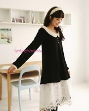 Brand New Mori Style Doll Peterpan Collar Black Button Sweater Blouse Top Size S