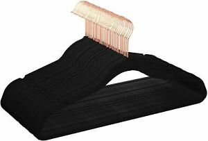 Amazon Basics Velvet Non-Slip Suit Clothes Hangers, Black/Rose Gold - Pack of 30