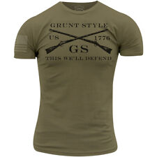 Тяжелую стиль логотип классическая футболка-военный зеленый