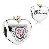 Authentic Pandora Sterling Silver Heart Charm Princess Tiara 925 Ale S925 CZ