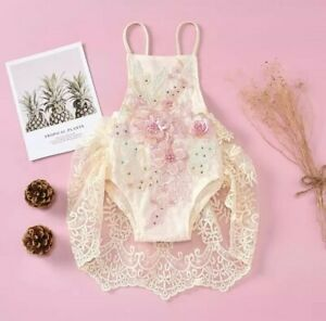 Pink Floral Ivory Lace Birthday Bodysuit Baby Toddler Twins Romper Girl Outfit