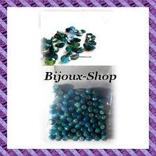 100 Perles oeil de chat Imprimées Vert Bleu  4mm