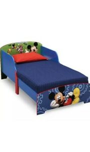 Mickey Mouse Wooden Children Kids Toddler Bed Frame With 2 Guard Rails Blue New