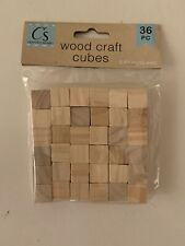36 Natural Wood Cube Blocks Unfinished Wooden Craft Cubes Crafter's Square 15mm
