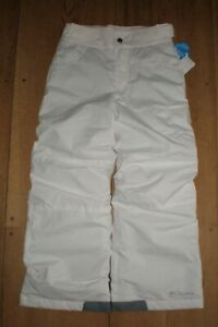 NWT YOUTH KIDS GIRLS WHITE COLUMBIA STARCHASER PEAK II SNOW PANTS SMALL S 7 / 8