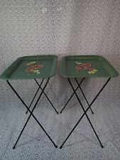 Vintage Green Floral Roses Metal Folding Tables/TV Trays Set of 4 MID CENTURY GC