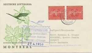 """BUNDESREPUBLIK 1956 Erstflug Deutsche Lufthansa  """"HAMBURG – MONTREAL"""""""