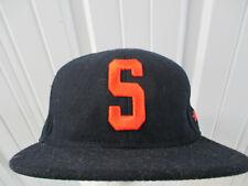 VINTAGE STUSSY S WOOL SEWN NAVY BLUE W/ ORANGE SNAPBACK CAP HAT PREOWNED