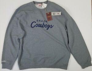 New Dallas Cowboys Mitchell & Ness Fleece Club LS Crew Sweatshirt Gray 4XL NWT