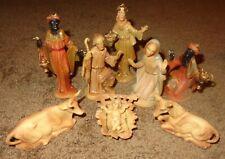 Old Vintage Plastic Nativity Scene Creche Figurines Mary Joseph Jesus Cow Donkey